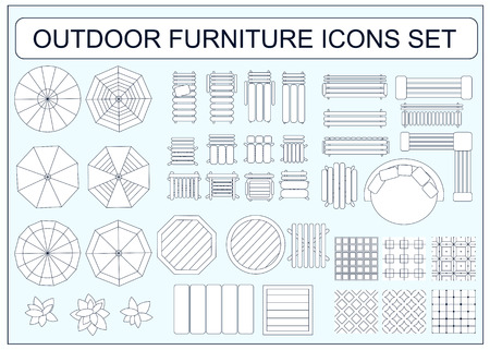 swimming pool home: Set of simple outdoor furniture vector icons as design elements - beach chair, bench, table, umbrella, round sofa, seamless floor tiles samples, sofa, chair, plants, armchair