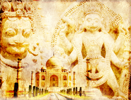 quitab: Grunge background with paper texture and landmarks of India - Taj Mahal, statues of Hindu gods