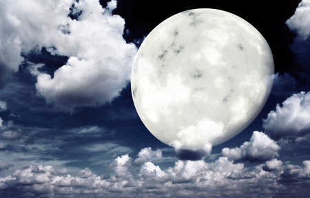 afterglow: Bright moon in the night sky. Elements of this image furnished by NASA Stock Photo