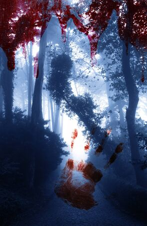 bloody hand print: Halloween background. Bloody hand print and blood streaks on the background of the misty forest