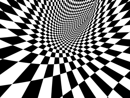 checkered: Abstract illusion. Black and white. 3d render Stock Photo