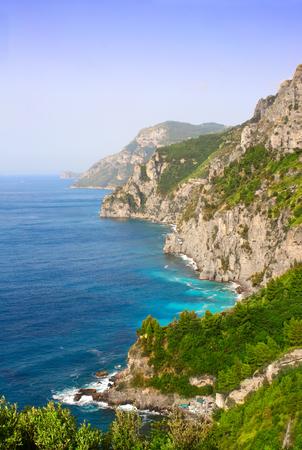 tyrrhenian: Mountains on famous Amalfi coast, Italy. Salerno Gulf, Tyrrhenian Sea. Summer day Stock Photo