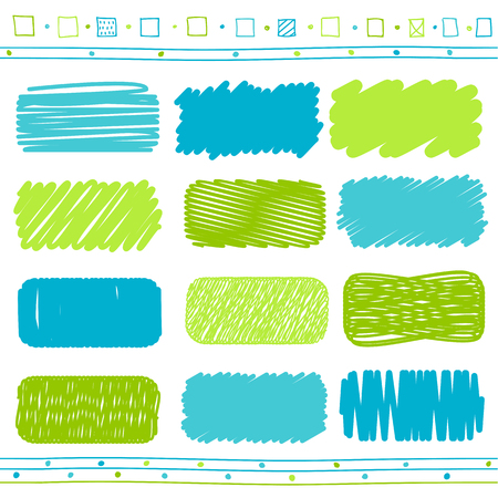 paint box: Vector collection of retro scribbled lines with hand drawn style of green and blue color Illustration