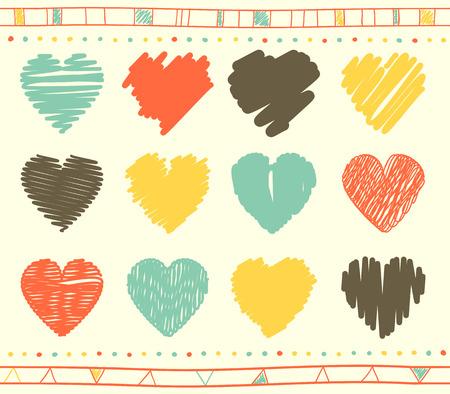 garabatos: Colección de vectores de corazones de San Valentín garabateados con estilo dibujado a mano de color rojo, amarillo, azul y gris