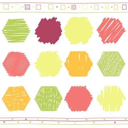scrawl: Colección de vector de retro garabateó hexaedros con estilo dibujado a mano de verde, naranja, rosa y el rojo