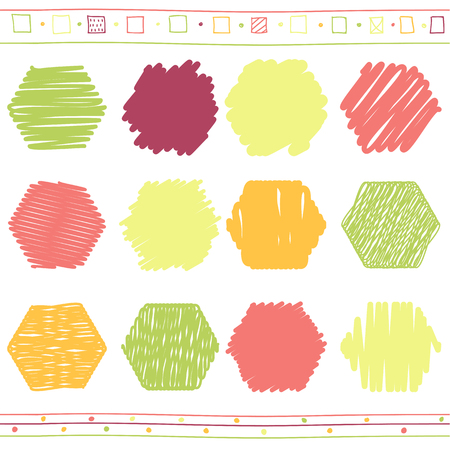 scrawl: Vector collection of retro scribbled hexahedrons with hand drawn style of of green, orange, pink and red color