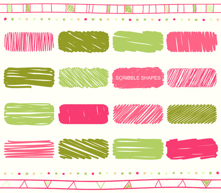red box: Vector collection of retro scribbled elements in hand drawn style of of green, pink, magenta and red color Illustration
