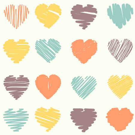 garabatos: colección de corazones de San Valentín garabateadas con estilo dibujado a mano Vectores