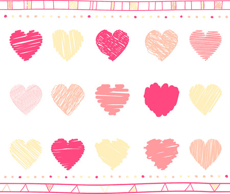collection red: collection of scribbled valentine hearts with hand drawn style of red and pink color Illustration