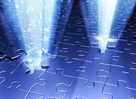 the distinguished: Conceptual image - an exit to the magic. Rays of light and magic spark that go into the holes in puzzle surface. 3d render Stock Photo