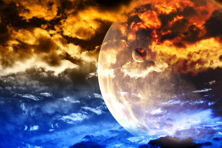 interplanetary: Beautiful sunset with storm sky and planets Stock Photo