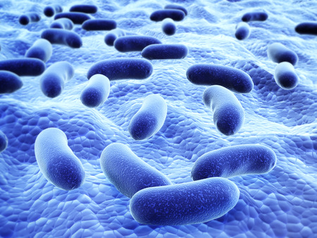 Colony of pathogenic viruses. On blurred background of blue color. 3d render Stock Photo
