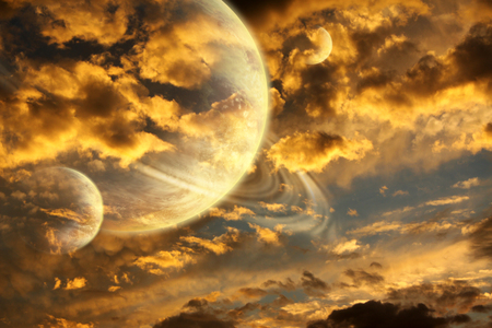 astral: Beautiful sunset with storm sky and planets Stock Photo