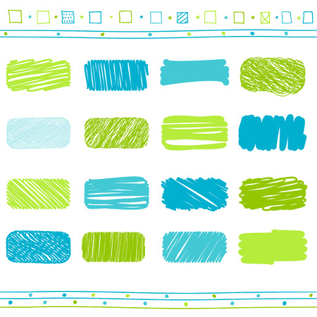 collection of retro scribbled lines with hand drawn style of green and blue color