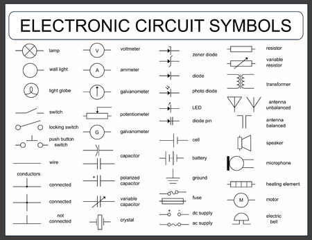 electronic: Collection of blueprint electronic circuit symbols