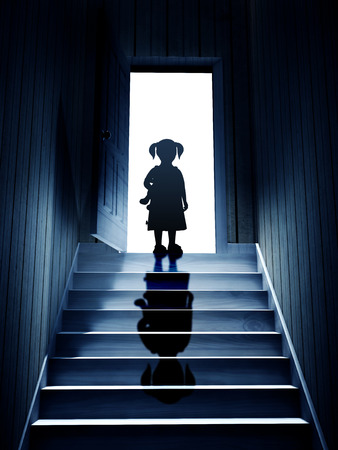 upstairs: Little girl on steps leading from a dark basement to open the door. 3d render