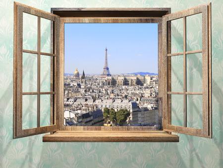 Geopend houten raam en uitzicht op de Eiffeltoren, Parijs. Stockfoto