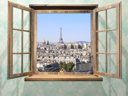 through the window: Opened wooden window and view on Eiffel tower, Paris. Stock Photo