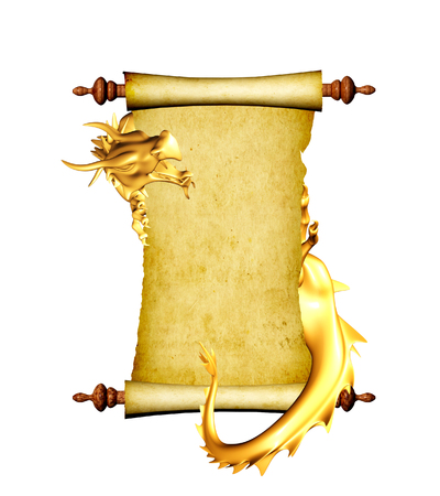 dangerously: Dragon and scroll of old parchment. Object isolated on white background. 3d render