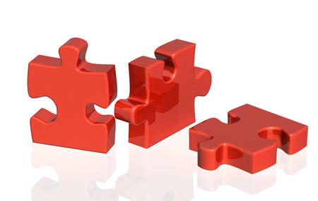 Tre parti di un puzzle di colore rosso. Oggetti su sfondo bianco lucido. rendering 3D Archivio Fotografico
