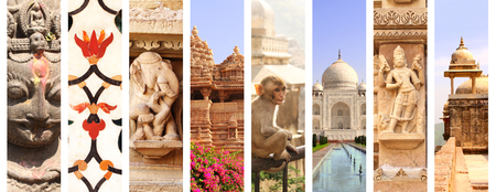 famous women: Collage with famous landmarks of India. Fort Amber in Jaipur, Taj Mahal in Agra, temple in Khajuraho; sculpture of elephants, women and hindu god