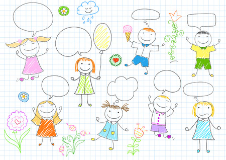 Happy children. Smiling girls and boys with comic speech bubbles.
