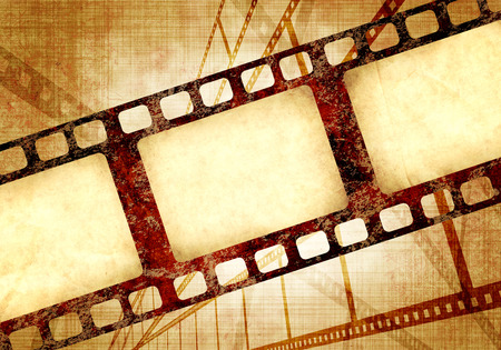 filmstrips: Grunge background with retro filmstrips and old paper texture