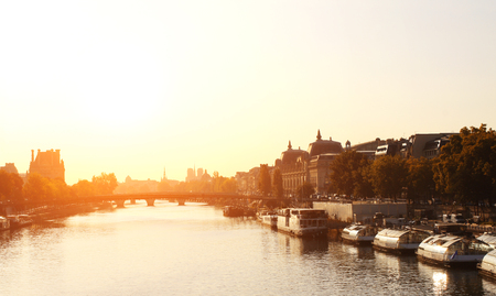 seine: Sunrise on river Seine