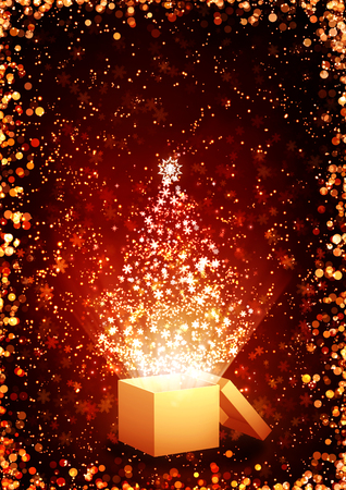 magic box: Christmas background of red color with magic box, glitters, golden sparks, snowflakes Stock Photo