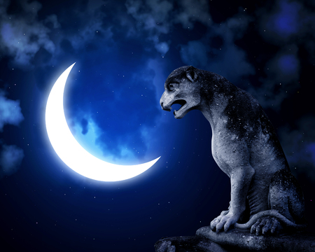 Ancient stone lion statue and crescent. On night sky background with stars and clouds