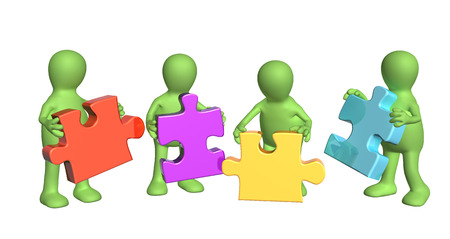 perplexing: Success of teamwork. Four green puppets with multi-colored puzzles. Isolated on white background. 3d render