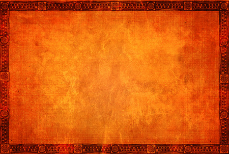 textured: Background with grunge paper texture of orange color and American Indian traditional patterns