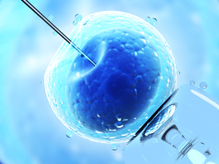 Cell injection - artificial insemination. Needle puncture the cell membrane. 3d render Stock Photo