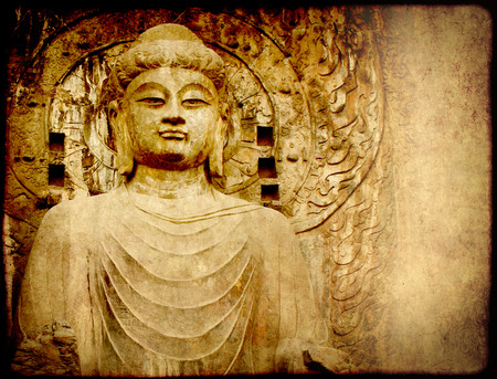 Grunge background with old paper texture and Buddhas statue, Longmen Grottoes, Luoyang, China