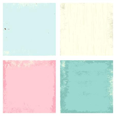 Vector conjunto de grunge de edad la textura del papel de colores verde, rosa, azul y beige