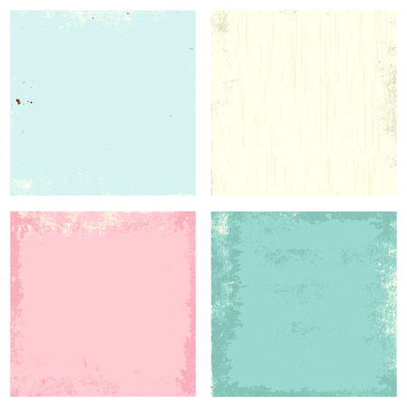 soiled: Vector set of grunge old paper texture of green, pink, blue and beige colors