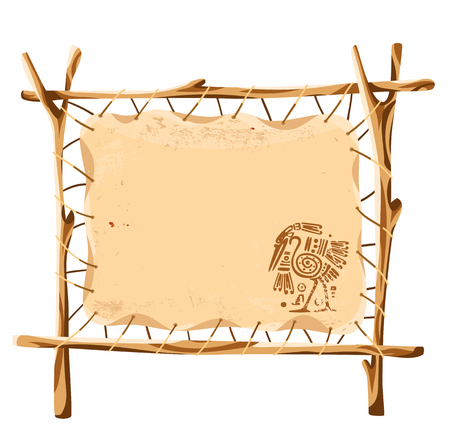 Vector grunge background with American Indian traditional patterns at the stand of leather stretched over a wooden frame Illustration
