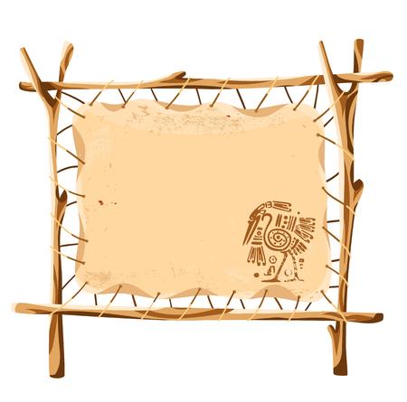 Vector grunge achtergrond met American Indian traditionele patronen op de stand van leer gespannen over een houten frame