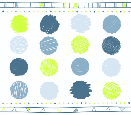 Vector collection of retro scribbled circular lines with hand drawn style of green  and blue color