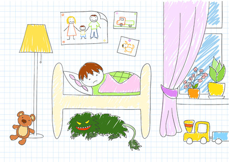 under the bed: Monster under bed. Vector sketch in doodle style on notebook page