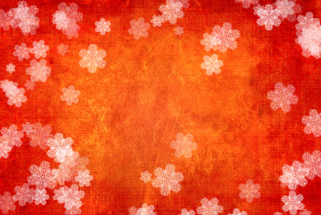 red paper: Grunge Christmas background with paper texture of red color and white snowflakes Stock Photo
