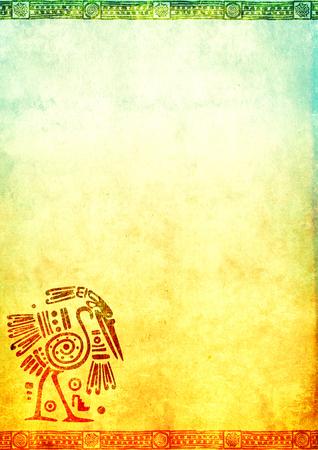 黄色と青の色のサギとアメリカ ・ インディアンの伝統的なパターン グランジ紙テクスチャと背景