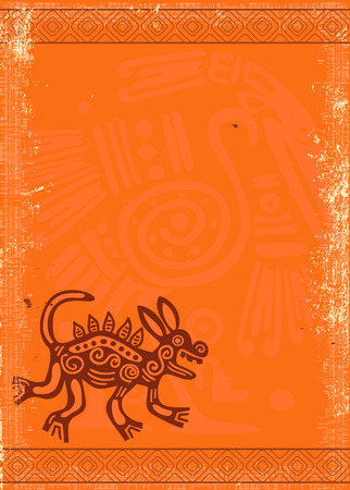 orange texture: Vector grunge background with American Indian traditional patterns and paper texture of orange color Illustration