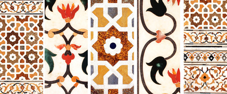 material flower: Ancient decorative mosaic on marble with flower and geometric ornament, India Stock Photo