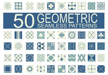 Set of 50 different  geometric seamless patterns (tiling) of blue and ivory color. Endless texture can be used for pattern fills, web page background, surface and textile textures, wallpaper