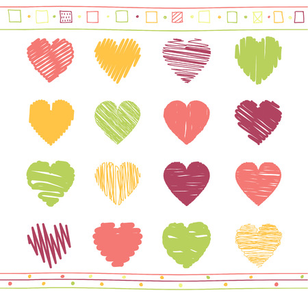 Vector collection of scribbled valentine hearts with hand drawn style of red, yellow, orange and green color