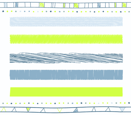 retro color: Vector collection of retro scribbled lines with hand drawn style of green and blue color Illustration