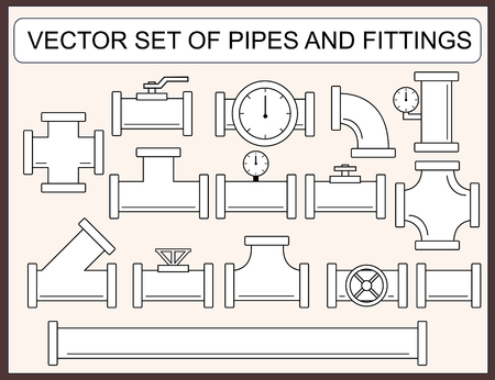 purified: Vector collection of pipes and fittings Illustration