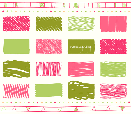 collection red: Vector collection of retro scribbled elements in hand drawn style of of green, magenta, pink and red color