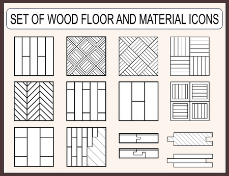 construction material: Collection of wood floor and material icons for construction design